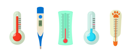 Thermometer icon set, cartoon style