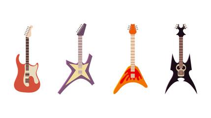 Electric guitar icon set, cartoon style