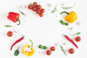 Healthy food on white background. Vegetables, tomatoes, peppers, green leaves, mushrooms. Flat lay, top view, copy space