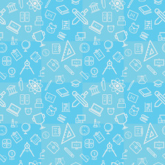 Seamless Pattern of Education Student Study at School