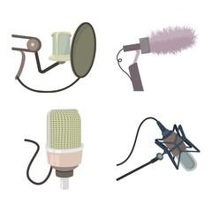 Studio microphone icon set, cartoon style