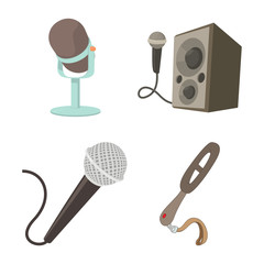 Microphone icon set, cartoon style
