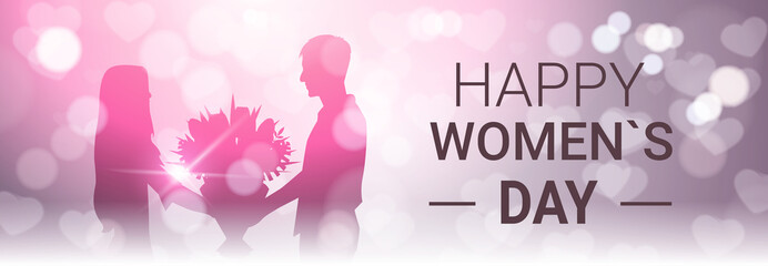 Happy Women Day Horizontal Banner With Silhoutte Man Present Girl Bouquet Of Flowers Beautiful Bokeh Background Vector Illustration