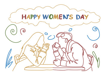 Wall Murals Doodle Silhouette Couple Sit At Table In Cafe Drink Coffee Together Doodle Happy Women Day Holiday Concept Vector Illustration
