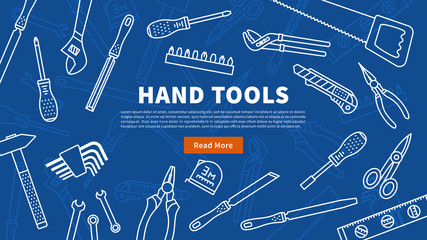 Hand tools vector illustration. Instruments for renovation and working line art banner with sample text. Hand tools for construction and repair linear (outline) graphic design.