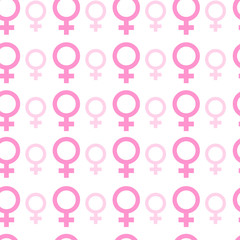 Female Signs Background Trendy Seamless Pattern With Pink Woman Symbols Vector Illustration