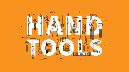 Hand tools vector illustration. Instruments for renovation and working line art concept. Hand tools for construction and repair linear (outline) graphic design.