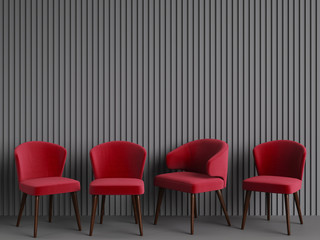 Red chairs are standing in an empty gray room. Concept of minimalism. 3d rendering mock up