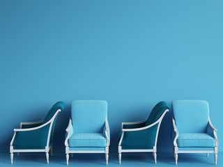 Blue classic chairs are standing in an empty blue room. Concept of minimalism. 3d rendering mock up