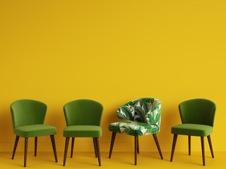 A green chair with pattern tropical leaves among simple green chairs on yellow backgrond. Concept of minimalism. 3d rendering mock up