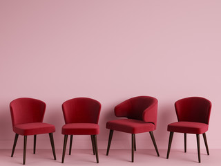 Red chairs are standing in an empty pink room. Concept of minimalism. 3d rendering mock up