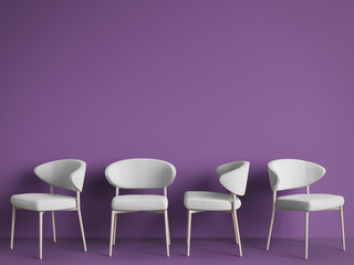 White chairs are standing in an empty violet room. Concept of minimalism. 3d rendering mock up