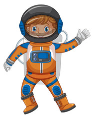 Kid in astronaut outfit on white background
