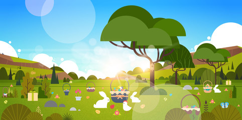 Beautiful Easter Holiday Background With Green Garden And Bunny Rabbit Eggs In Grass Vector Illustration