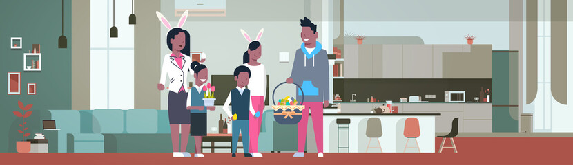 frican American Family Celebrate Happy Easter Holiday Wear Bunny Ears In Living Room At Home Flat Vector Illustration