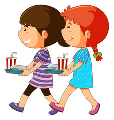 Two kids with food tray