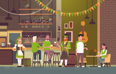 St. Patricks Day Party In Irish Pub Concept Group Of People Wearing Green Hats And Drinking Beer Together Flat Vector Illustration