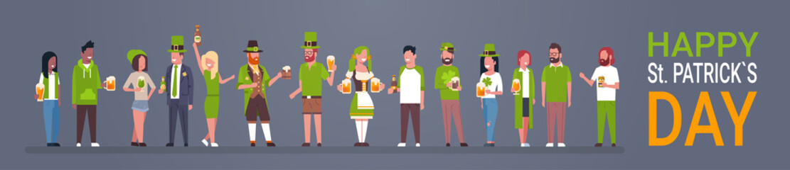 Happy St. Patrick Day Party Poster, Group Of People In Green Clothes Drinking Beer Horizontal Banner Flat Vector Illustration