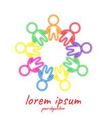 Abstract stylized multi colored human figures standing around in circle, isolated on white background. Holiday of friendship. Group of help. Bright design element for presentations, annual report