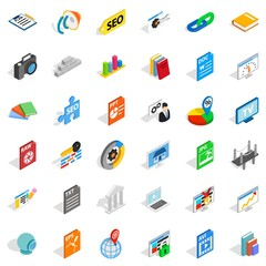 Trading firm icons set, isometric style
