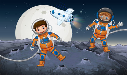Two astronauts exploring on strange planet