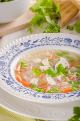 Spring chicken soup noodles, vegetable and toast