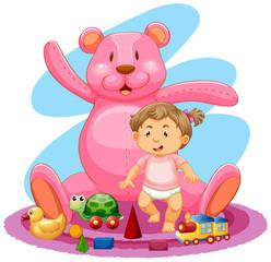 Baby girl and pink teddybear