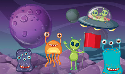 Space theme with aliens on planet