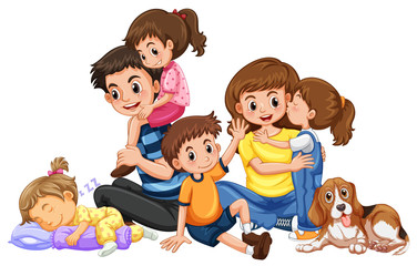 Happy family with four kids and one dog