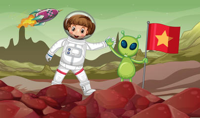 Green alien and astronaut in space with red flag
