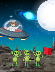Space theme with astronaut and three aliens
