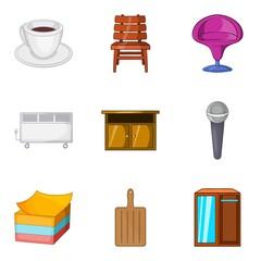 Place of sleep icons set, cartoon style