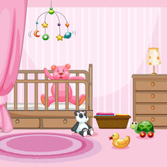 Bedroom scene with pink teddybear in babycot