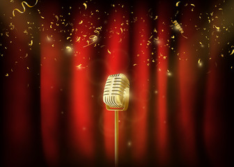 Vintage  gold metal microphone.  Red curtain background with spo