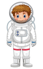 Boy in astronaut outfit