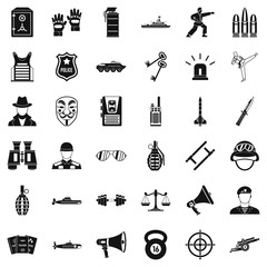 Cop icons set, simple style
