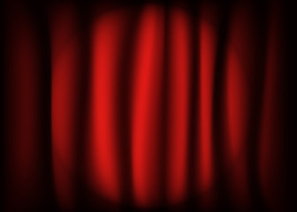 Spotlight on stage    red curtain.