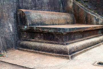 ancient seat On the top ruin Royal Gardens, Lion Rock Sigiriya, Attractions, Historical Places in Sri Lanka