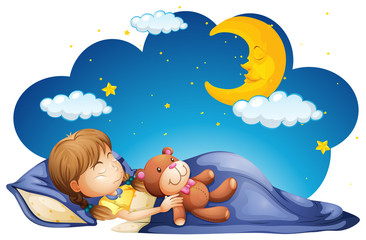 Girl sleeping with teddybear at night