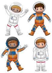 Four astronauts on white background
