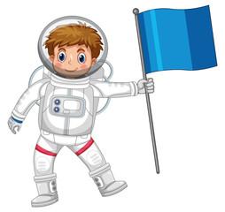Astronaut holding blue flag