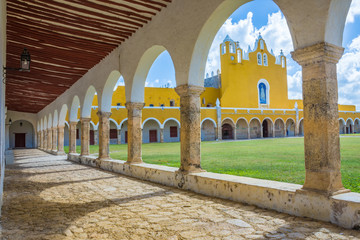 Monastery of the  the yellow city of Izamal in Yucatan, Mexico Wall mural