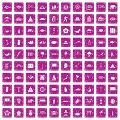 100 asian icons set grunge pink