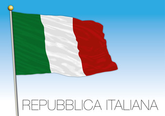 Republic of Italy, flag on the blue sky, illustration