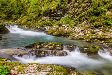 "Mountain river Radovna in the Vintgar gorge, a natural Triglav national Park, Slovenia. ""Frozen water"" - shooting water on a long exposure."