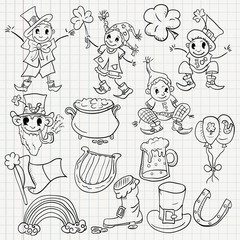 childrens illustration design elements for the Irish holiday St. Patricks day sketch