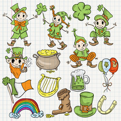 colored childrens illustration design elements for the Irish holiday St. Patricks day