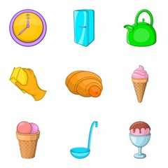 Household goods icons set, cartoon style