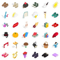 Old material icons set, isometric style