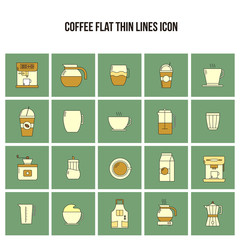 Coffee Flat Thin Lines Icon Set